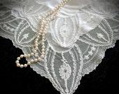 Vintage Bridal Brussels Lace Handkerchief - Vintage Hanky - Handkerchiefs - Bridal Gifts - Vintage Weddings - Vintage Linens - Heirlooms