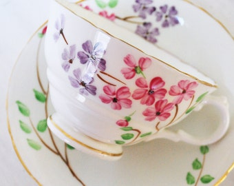 Delphine Teacup and Saucer, Hand-Painted Floral