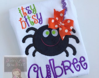 Halloween Spider Shirt or bodysuit -- Baby Girl Halloween Shirt -- Itsy Bitsy Spider -- personalized with her name