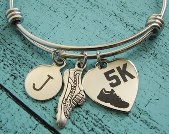 5K runner gift,  5K race gift bracelet, 5K running bracelet, 5K run bracelet, love running, running gift, fitness, gift for 5K running team
