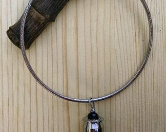 Bangle Bracelet - Shell Casing Jewelry - Silver Bracelet - Black Crystal