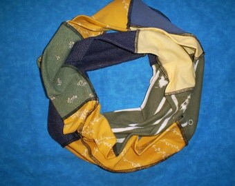 Recycled t shirt circle scarf.