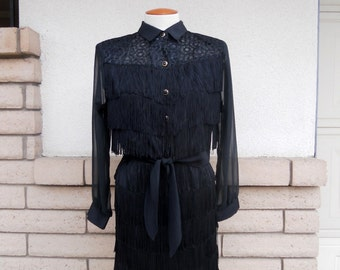 Vintage 80's Black Fringed Western Dress . Skirt and Cropped Top
