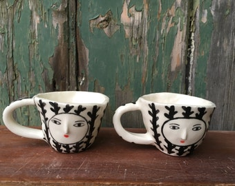 Pair of wonky cups - 3D nose -  one of a kind