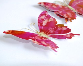 5 x Large Butterfly Embellishments, for Scrapbooking, Card Making, etc. Pink & Gold Paper Butterflies, Set of 5 - Cards by Gaynor, Die Cut