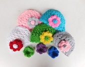 Interchangeable Flower Hat with 6 flowers Baby Girl Crochet Hat and Photography Prop All Sizes from Newborn to Adult