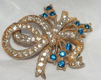 Vintage Pave Rhinestone Ribbon Brooch