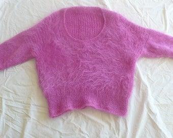 Vintage pink mohair handknit  sweater 80s