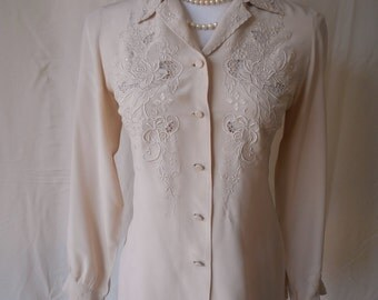 EXQUISITE vintage beige asian silk and lace hand embroidered blouse top XS/S