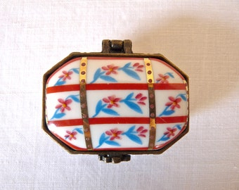 English Pill Box French Vintage Porcelain Mini Box With Flowers English Porcelain