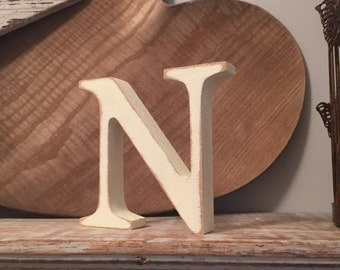 Hand-painted Wooden Letter N  - Freestanding - Georgia Font - Various sizes, finishes and colours