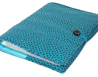 Ring Binder File Cover Dotty Teal for A4 Files or US Letter Size Binders, UK Seller