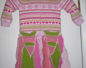 Upcycled Sweater Pixie Coat Infant Pink Green Fully Lined