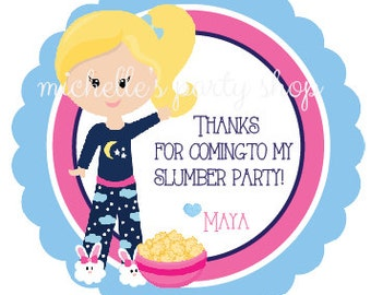 SET OF 12, Slumber Party Favor Tags
