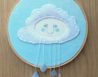 Nursery Wall Art - Rain Cloud Embroidery Hoop Art - Whimsical Blue Nursey Art - Gender Neutral Nursery Art