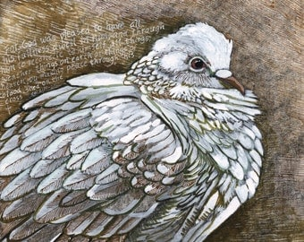 Christian Wall Art - Dove mixed media original painting - Christian Art