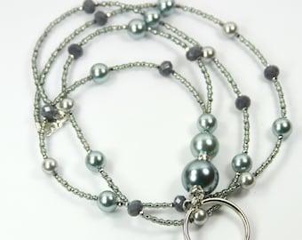 GRAY SHINE - Beaded Badge Holder, Beaded Lanyard, Pearl Lanyard, Gray Lanyard