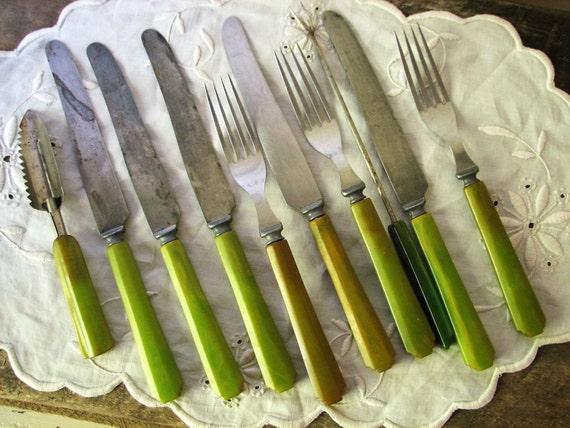 10 Green Bakelite Celluloid Flatware Vintage Silverware