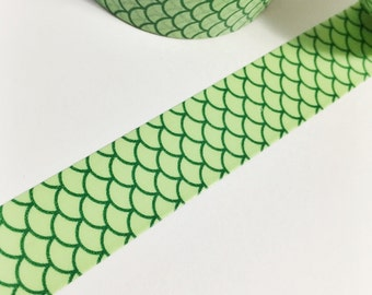 SALE Dark Green and Light Green Scales Green Mermaid Scales Mermaid Tail Green Mermaid Washi Tape 11 yards 10 meters 15mm