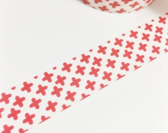 Opaque Washi with Bright Red Plus Sign Washi Tape 11 yards 10 meters 15mm