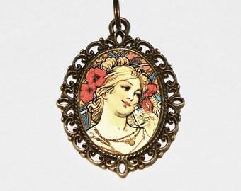 Poppy Goddess Necklace, Art Nouveau, Alphonse Mucha, Poppies, Flower Jewelry, Oval Pendant