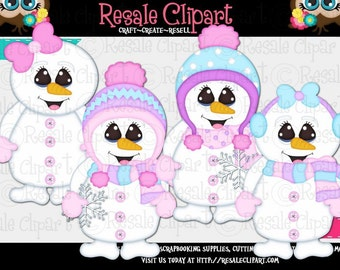 Cute Snowgirl Clipart (Digital File Download)
