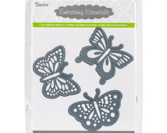BUTTERFLIES 3 Piece Die Cut Embossing Stencil Set by Darice