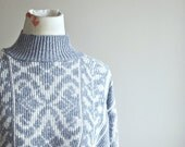 Gray Boyfriend Sweater   Cozy Turtleneck   Patterned Pullover   Slouchy Style   Gray and White