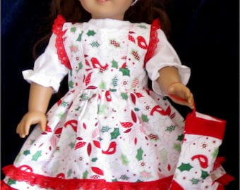 "Red & White Floral Print Pinafore, Headband and Blouse Stocking Fits American Girl Dolls or Similar 18"" Dolls"