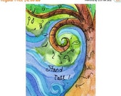 DELAYED SHIPPING thru 8/3 Original Art ACEO - Matted Mini Inspirational Original Watercolor Collectible -  Brown Green Tree Blue Sky