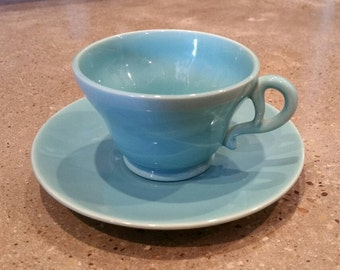 Franciscan el patio turquoise blue Gladding Bean cup and saucer