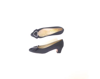 Ferragamo Black Heels with Bow. Size 7. Vintage 80s Satin Pumps. Silver Heart Hardware