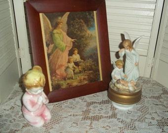 3 lot Vintage Angel baby Jesus music box figurine little girl praying guardian angel children framed print...Reduced..WAS 19.99