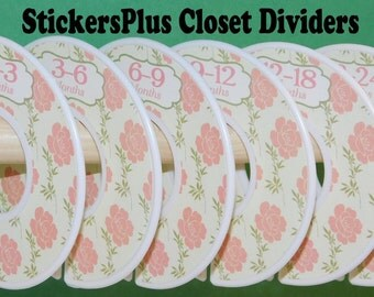 Baby Closet Dividers Organizers Assembled or PreCut DIY Rose Roses Flower Flowers Floral Pink Cream Green Girl Shower Nursery Gift CL044