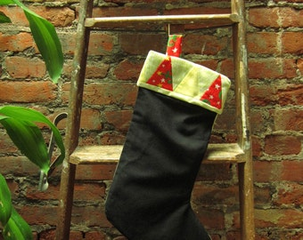 SALE - Triangle Cuffed Christmas Stocking - ooak