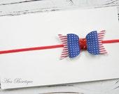 4th of July Headband - July 4th Bow Headband - Baby Bow Headband - Glitter Bow Headband - Pink Bow Headband
