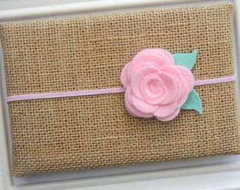 Pink Felt Flower Headband - Felt Flower Headband - Flower Headband - Pink Baby Headband