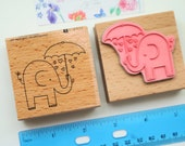 Elephant stamp Baby shower rubber stamp 2.5 x2.5 wood mounted stamp scrapbooking craft supplies make paper tags elephant umbrella rain drops