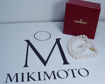 """Vintage Mikimoto 18K Yellow Gold Clasp 8.5-9mm A+ Pearls 20"""" Necklace"""