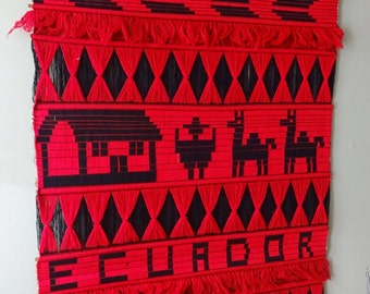 Textile Art Wall Hanging, Mid Century Ecuadorian Wall Hanging, Homespun Wall Tapestry Ecuadorian Loomwork, Wooven textyle  Wooven Textyles