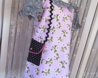 Girls pink black dress, dress with attached purse, available to order, 2T, 3T, 4T, 5T