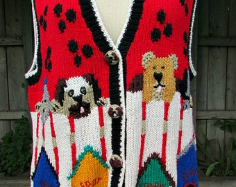 vintage 90s womens sweater vest L cute dogs dog houses rover spot sparky spike dog lover too cute