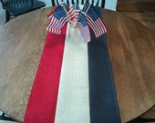 Fourth of July Burlap Table Runner Red White and Blue Table Runner July 4th Table Decoration Handmade in the USA