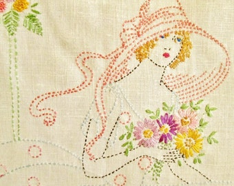 Vintage Linen Table Runner with Southern Belle
