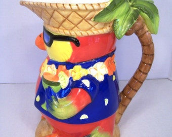 Pitcher Parrot Bar Pitcher Hawaiian Palm Tree Bird Sunglasses Ceramic