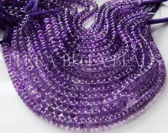 "8"" strand light purple AFRICAN AMETHYST smooth gem stone rondelle beads 6mm - 6.5mm"