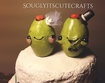 Olive Wedding Cake Toppers Clay Figurines