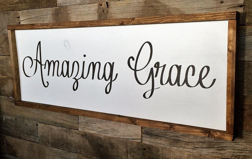 Large Wood Sign Amazing Grace Subway Sign By Dustinshelves