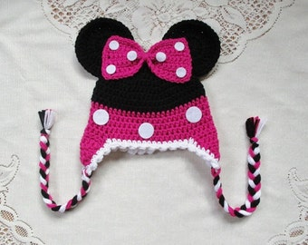 READY TO SHIP - 6 to 12 Month Size - Hot Pink Minnie Mouse Crochet Hat - Photo Prop