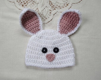 White and Light Raspberry Easter Bunny Crochet Beanie Hat - Photo Prop - Available in Any Size or Color Combination